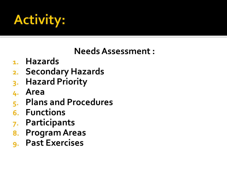 Needs Assessment : 1.Hazards 2. Secondary Hazards 3.