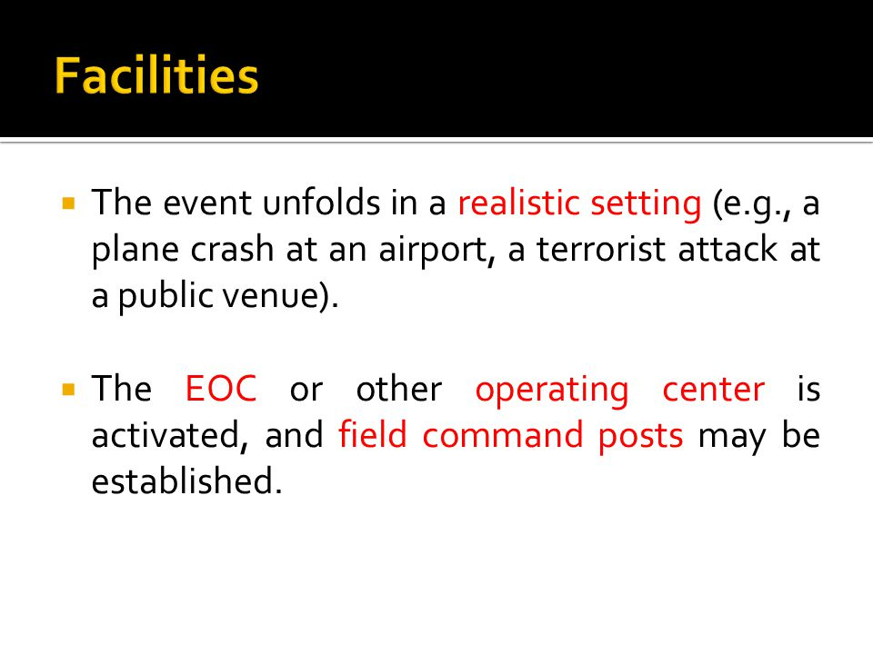  The event unfolds in a realistic setting (e.g., a plane crash at an airport, a terrorist attack at a public venue).