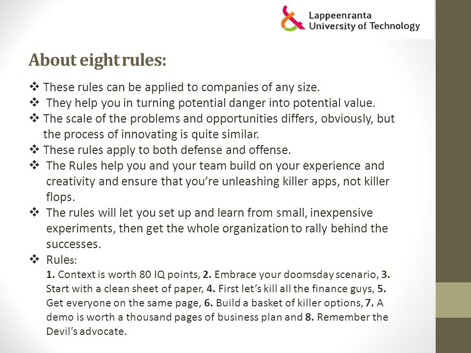 About eight rules:  These rules can be applied to companies of any size.