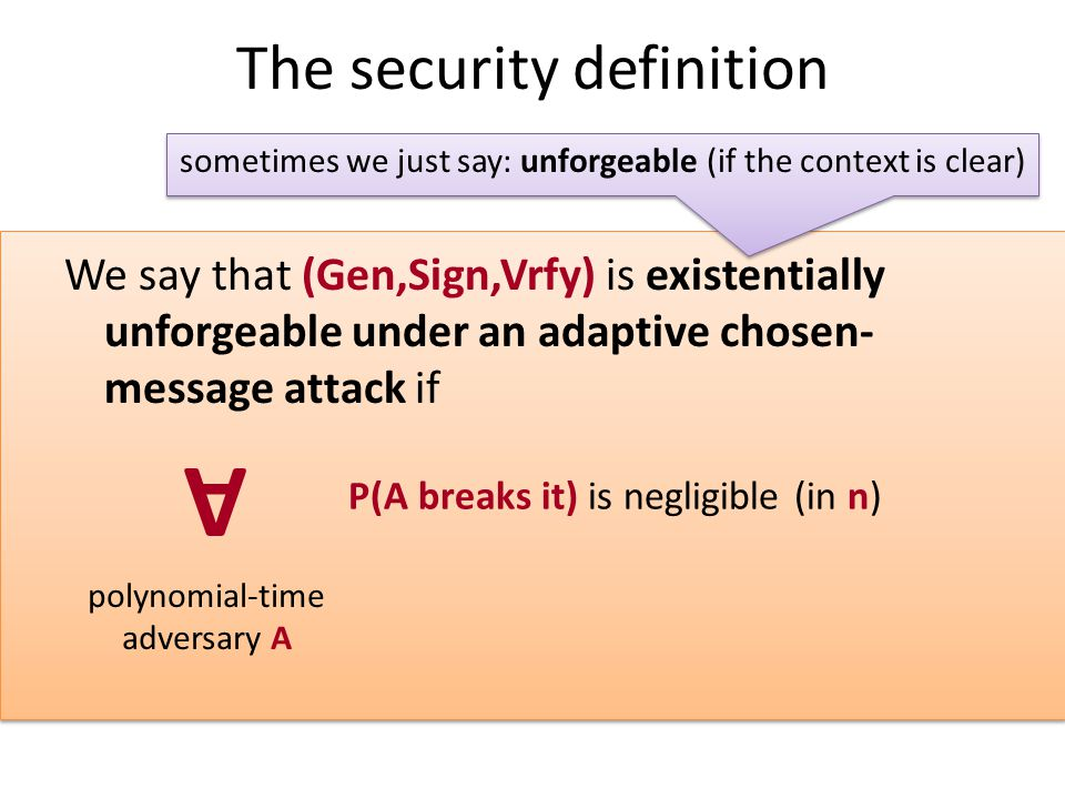 The security definition We say that (Gen,Sign,Vrfy) is existentially unforgeable under an adaptive chosen- message attack if A polynomial-time adversary A P(A breaks it) is negligible (in n) sometimes we just say: unforgeable (if the context is clear)