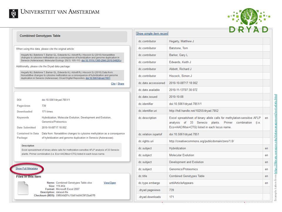 RDMS Data organisation & description28 Example taken from https://library.uoregon.edu/datamanagement/metadata.htmlhttps://library.uoregon.edu/datamanagement/metadata.html