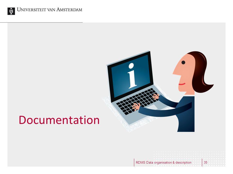 Documentation RDMS Data organisation & description35