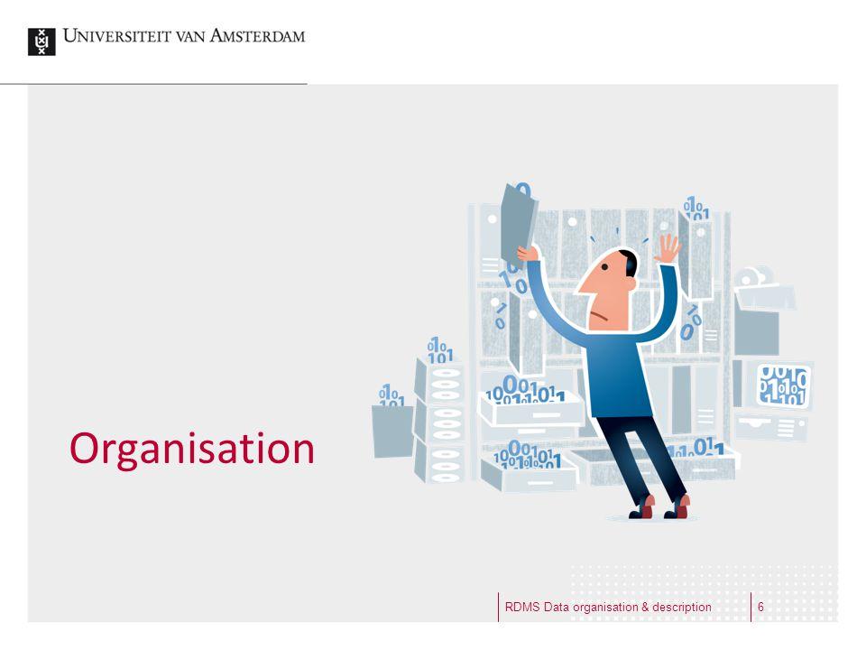 Organisation RDMS Data organisation & description6