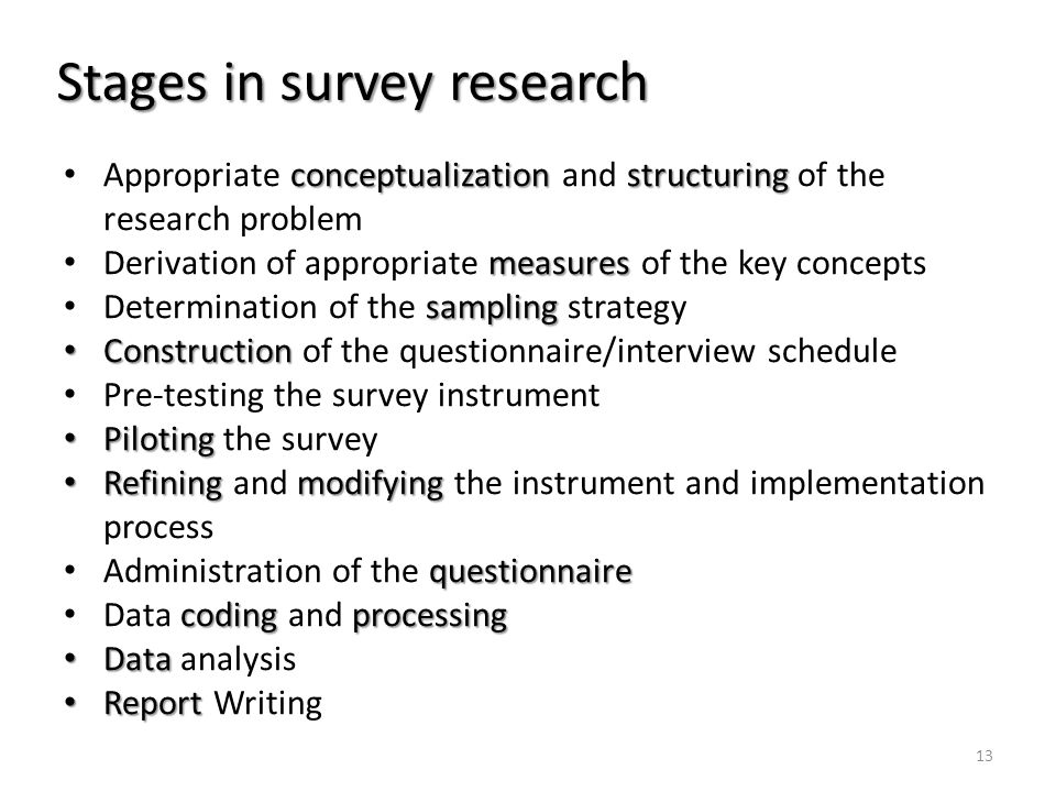 Stages in survey research conceptualizationstructuring Appropriate conceptualization and structuring of the research problem measures Derivation of ap