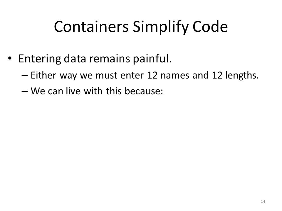 Containers Simplify Code Entering data remains painful.