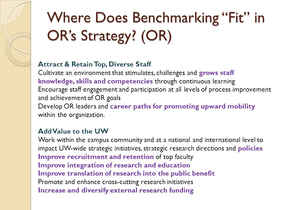 Where Does Benchmarking Fit in OR's Strategy.