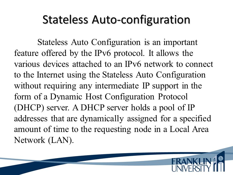 Stateless Auto Configuration is an important feature offered by the IPv6 protocol. It allows the various devices attached to an IPv6 network to connec