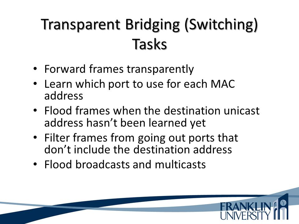 Transparent Bridging (Switching) Tasks Forward frames transparently Learn which port to use for each MAC address Flood frames when the destination uni