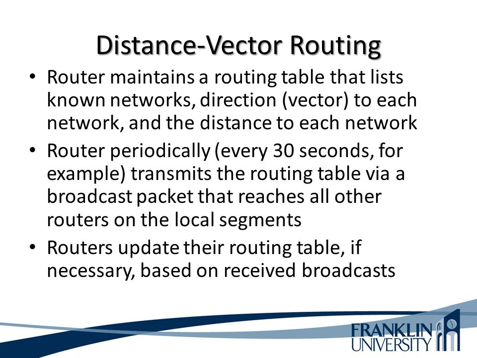Distance-Vector Routing Router maintains a routing table that lists known networks, direction (vector) to each network, and the distance to each netwo