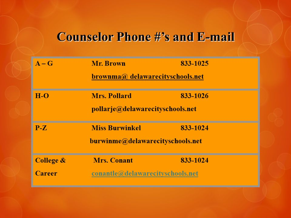 Counselor Phone #'s and E-mail A – G Mr. Brown833-1025 brownma@ delawarecityschools.net H-O Mrs.