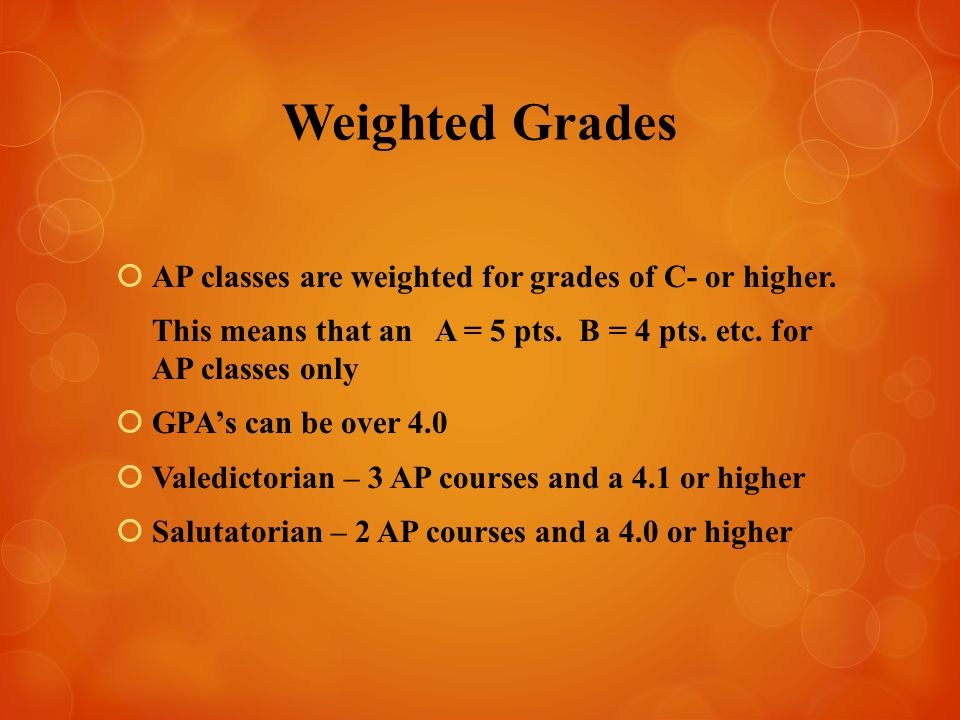 Weighted Grades  AP classes are weighted for grades of C- or higher.