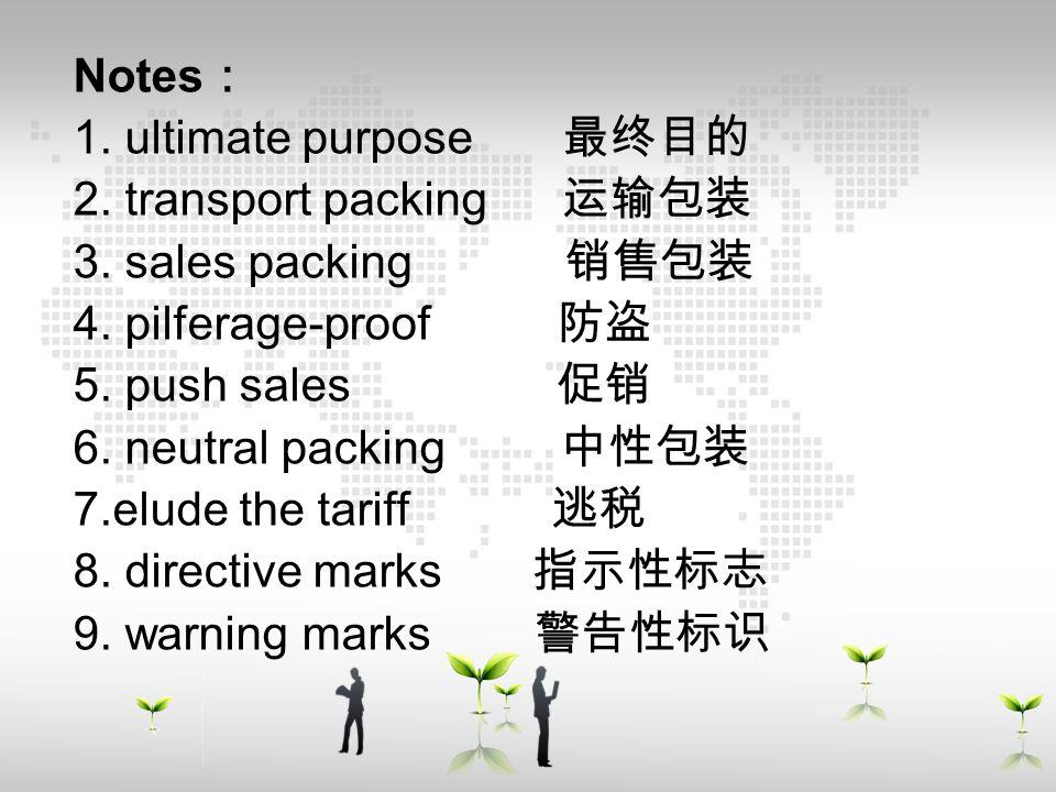 单击添加副标题 Notes : 1. ultimate purpose 最终目的 2. transport packing 运输包装 3. sales packing 销售包装 4. pilferage-proof 防盗 5. push sales 促销 6. neutral packing 中性包