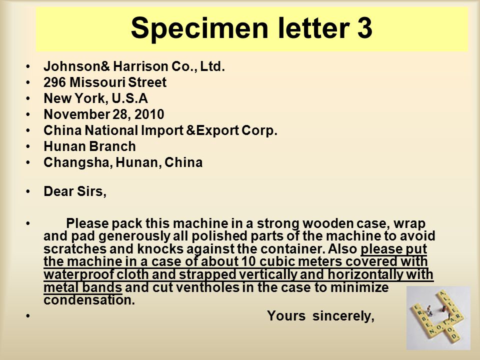 Johnson& Harrison Co., Ltd. 296 Missouri Street New York, U.S.A November 28, 2010 China National Import &Export Corp. Hunan Branch Changsha, Hunan, Ch