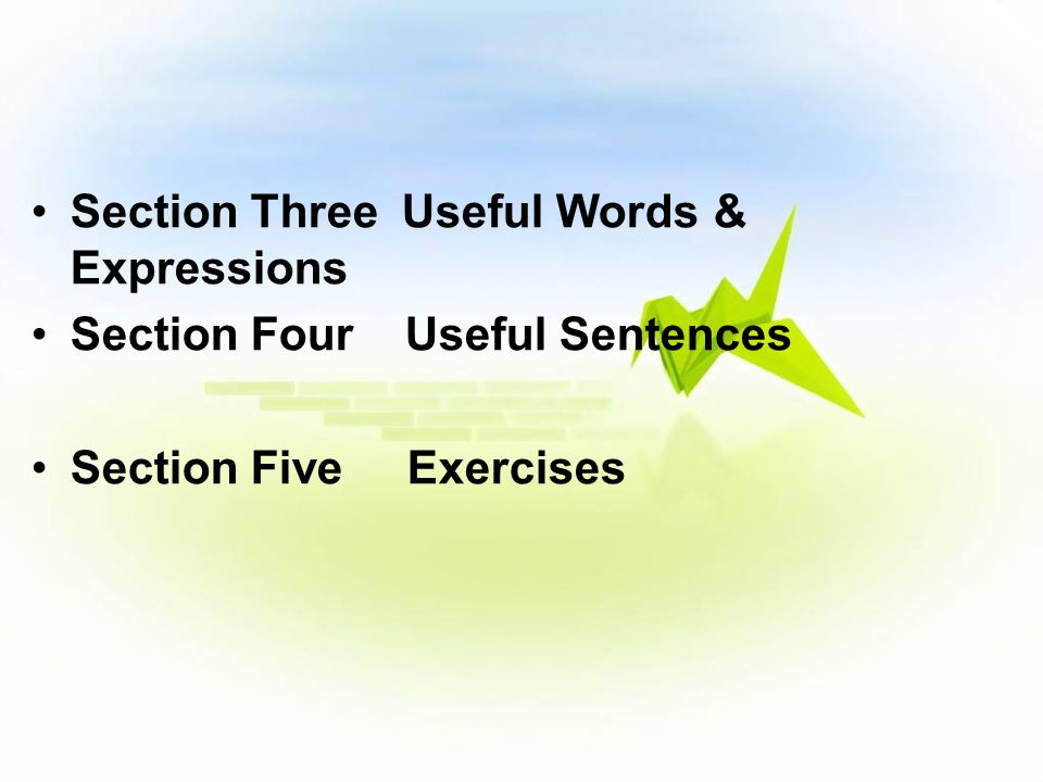 Section Three Useful Words & Expressions Section Four Useful Sentences Section Five Exercises