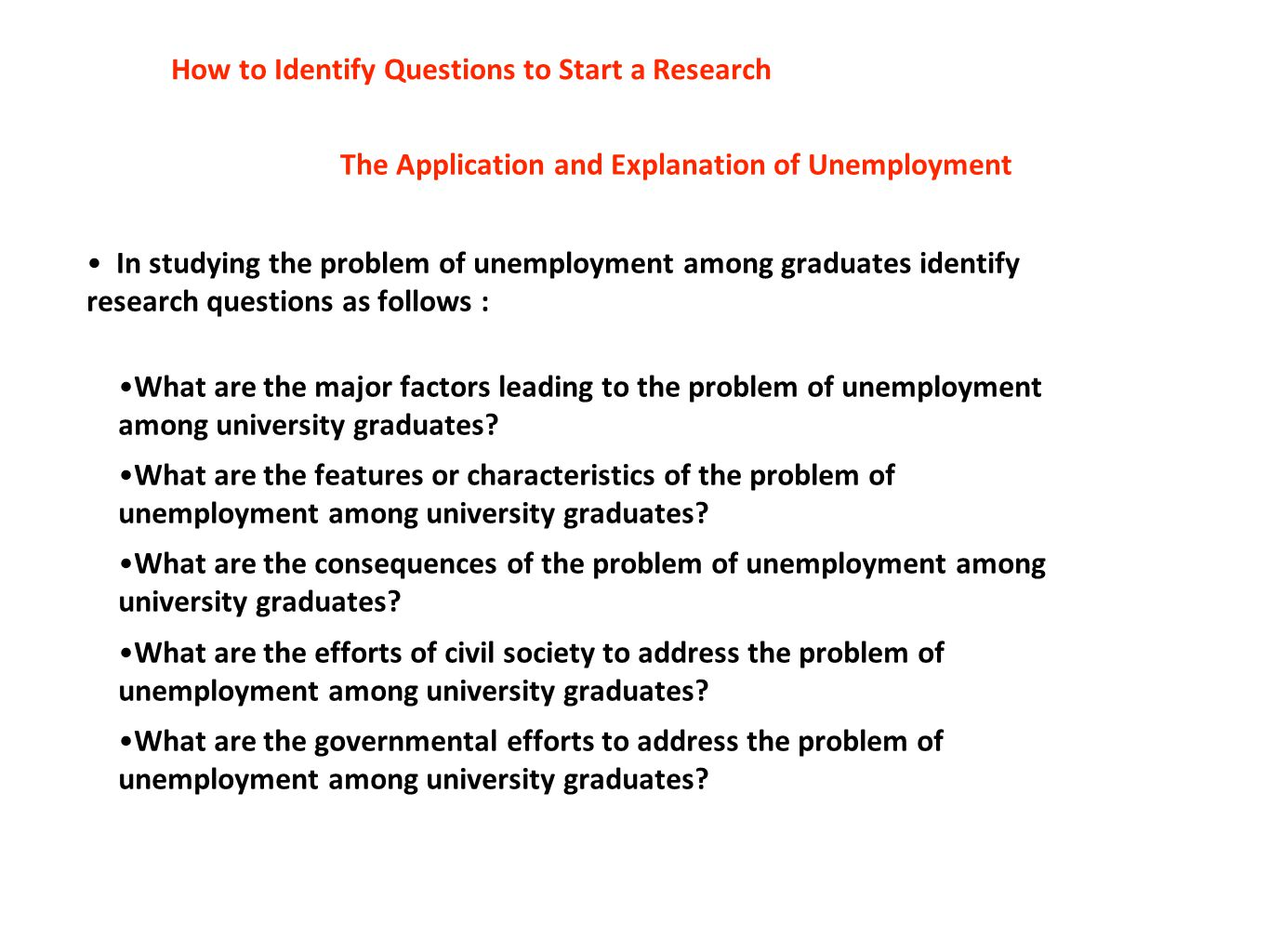 How to Identify Questions to Start a Research The Application and Explanation of Unemployment In studying the problem of unemployment among graduates