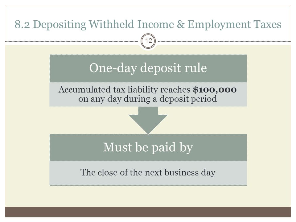 8.2 Depositing Withheld Income & Employment Taxes Must be paid by The close of the next business day One-day deposit rule Accumulated tax liability reaches $100,000 on any day during a deposit period 12