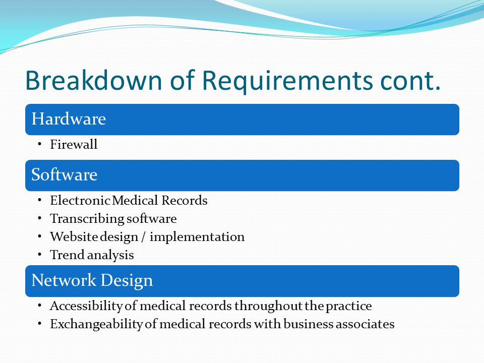Breakdown of Requirements cont. Hardware Firewall Software Electronic Medical Records Transcribing software Website design / implementation Trend anal