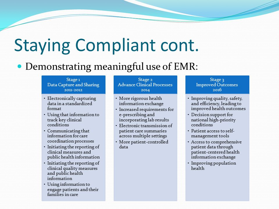 Staying Compliant cont. Demonstrating meaningful use of EMR: Stage 1 Data Capture and Sharing 2011-2012 Electronically capturing data in a standardize