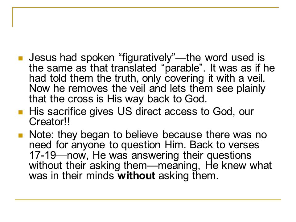 Jesus had spoken figuratively —the word used is the same as that translated parable .