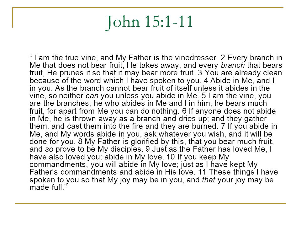 John 15:1-11 I am the true vine, and My Father is the vinedresser.
