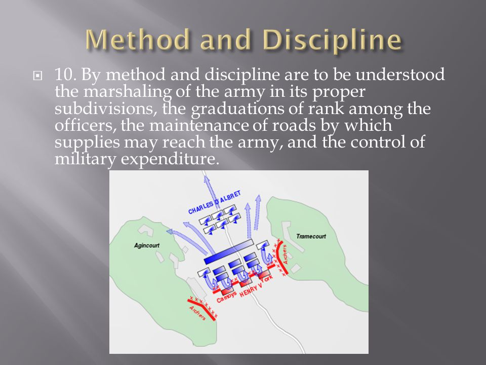  10. By method and discipline are to be understood the marshaling of the army in its proper subdivisions, the graduations of rank among the officers,