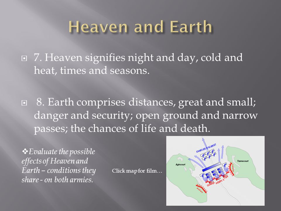  7. Heaven signifies night and day, cold and heat, times and seasons.  8. Earth comprises distances, great and small; danger and security; open grou