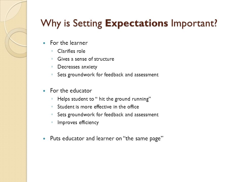 Why is Setting Expectations Important.