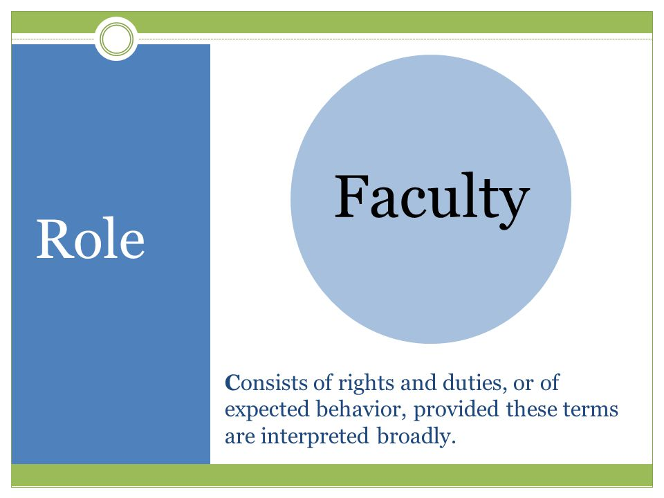 Consists of rights and duties, or of expected behavior, provided these terms are interpreted broadly. Faculty Role