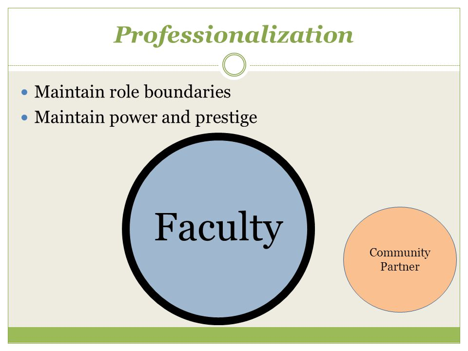 Professionalization Maintain role boundaries Maintain power and prestige Faculty Community Partner