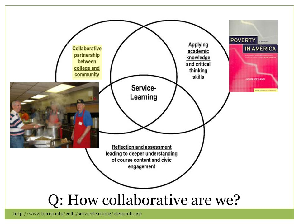 http://www.berea.edu/celts/servicelearning/elements.asp Q: How collaborative are we