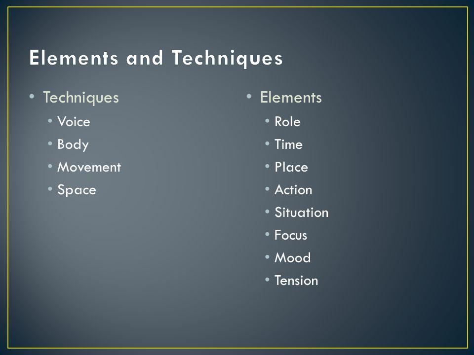 Techniques Voice Body Movement Space Elements Role Time Place Action Situation Focus Mood Tension