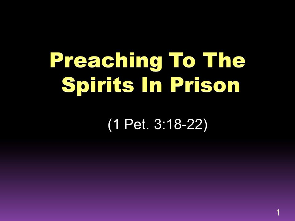 Death: put to death in the flesh (3:18)  Vivification or Resurrection: made alive in the spirit (3:18b)  Descent or Ascension: He went (3:19)  Preaching: preached to the spirits in prison (3:21)  Ascension: who has gone into heaven (3:22a)  Coronation: at the right hand of God (3:22b) 32
