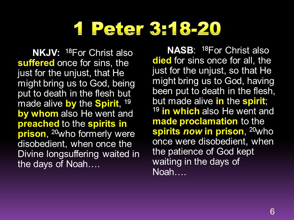  Preaching was done by Jesus Himself (not through Noah)  Preaching was done by Jesus after being put to death in the flesh (not in His pre- incarnate state)  Preaching was done by Jesus after He was made alive in the spirit (i.e.