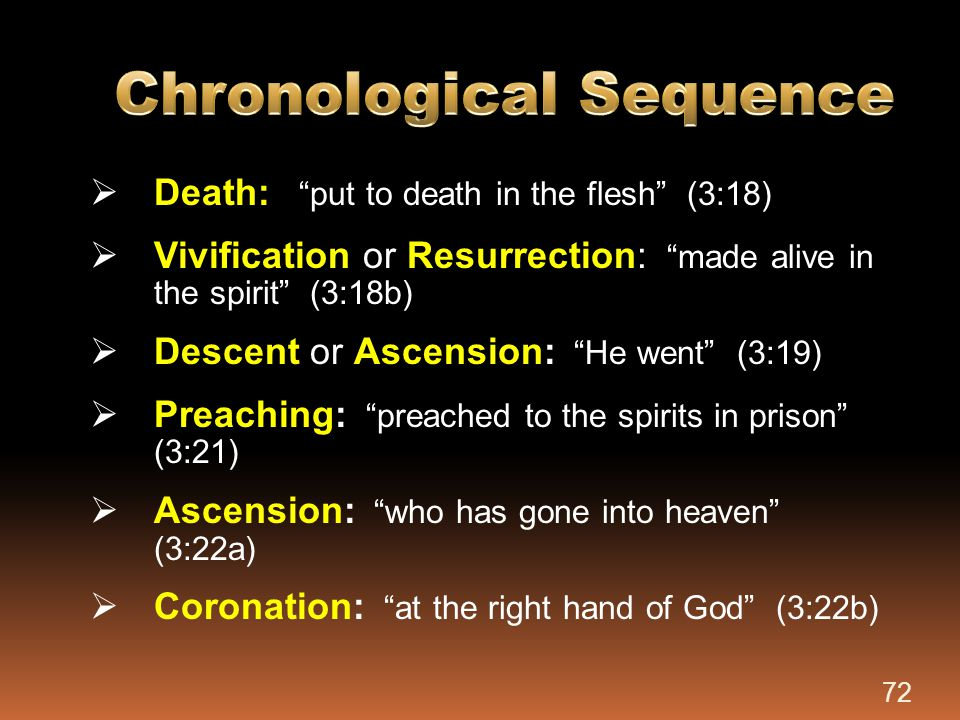 """ Death: """"put to death in the flesh"""" (3:18)  Vivification or Resurrection: """"made alive in the spirit"""" (3:18b)  Descent or Ascension: """"He went"""" (3:19"""
