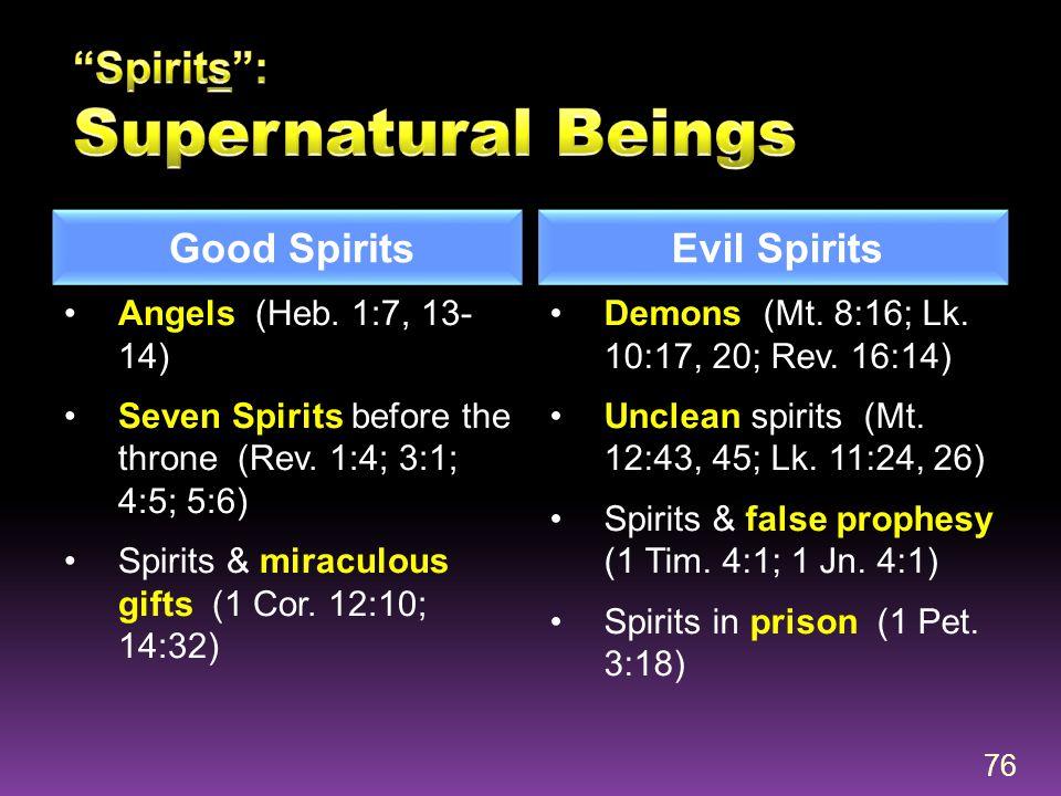 Good Spirits Evil Spirits Angels (Heb. 1:7, 13- 14) Seven Spirits before the throne (Rev. 1:4; 3:1; 4:5; 5:6) Spirits & miraculous gifts (1 Cor. 12:10
