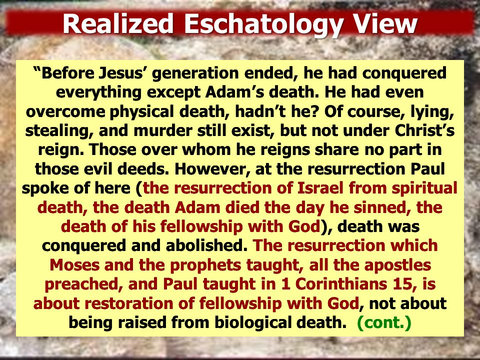 Relevant Points some Sadducees, who say there is no resurrection… some Sadducees, who say there is no resurrection… –If the Sadducees didn't believe in a spiritual resurrection, why did they ask about levirate marriage, a question which has to do with physical death.