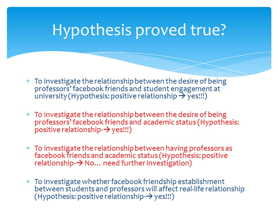  To investigate the relationship between the desire of being professors' facebook friends and student engagement at university (Hypothesis: positive relationship  yes!!!)  To investigate the relationship between the desire of being professors' facebook friends and academic status (Hypothesis: positive relationship-  yes!!!)  To investigate the relationship between having professors as facebook friends and academic status (Hypothesis: positive relationship-  No… need further investigation)  To investigate whether facebook friendship establishment between students and professors will affect real-life relationship (Hypothesis: positive relationship-  yes!!!) Hypothesis proved true
