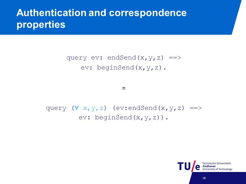 query ev: endSend(x,y,z) ==> ev: beginSend(x,y,z).