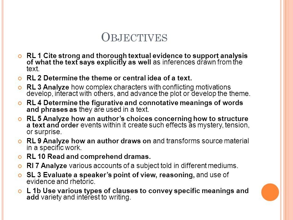 O BJECTIVES RL 1 Cite strong and thorough textual evidence to support analysis of what the text says explicitly as well as inferences drawn from the text.