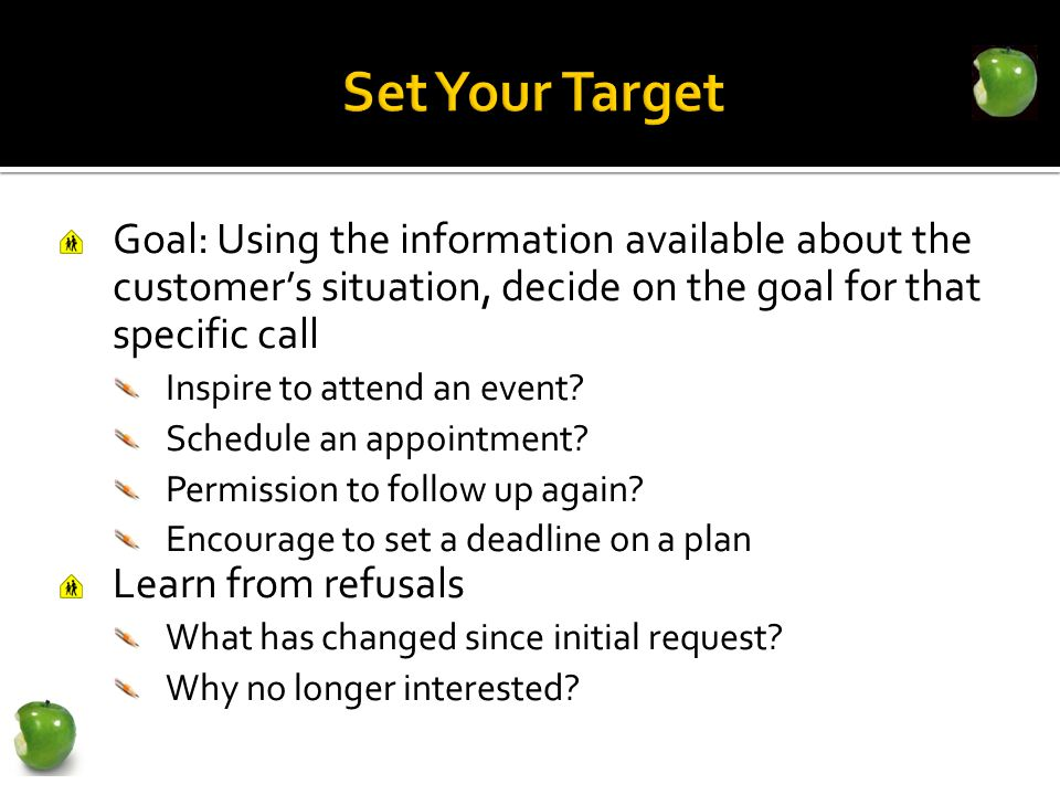Goal: Using the information available about the customer's situation, decide on the goal for that specific call Inspire to attend an event.