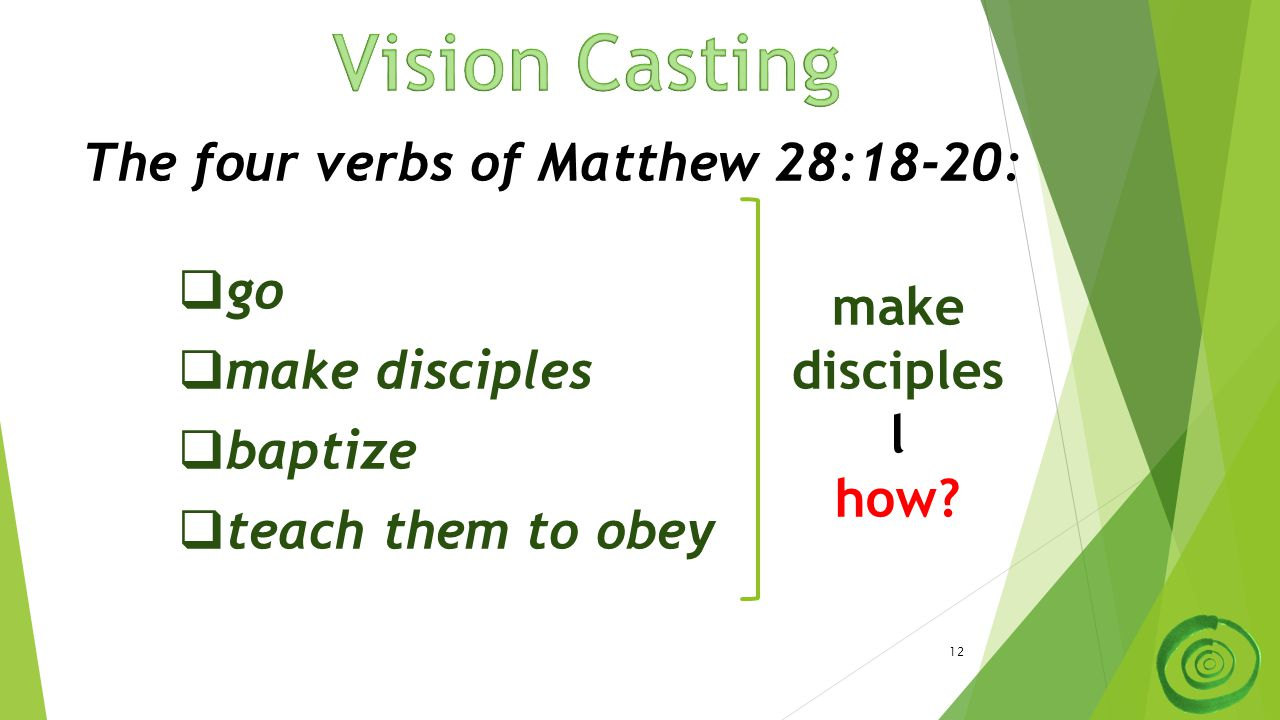 12 The four verbs of Matthew 28:18-20:  go  make disciples  baptize  teach them to obey make disciples l how?