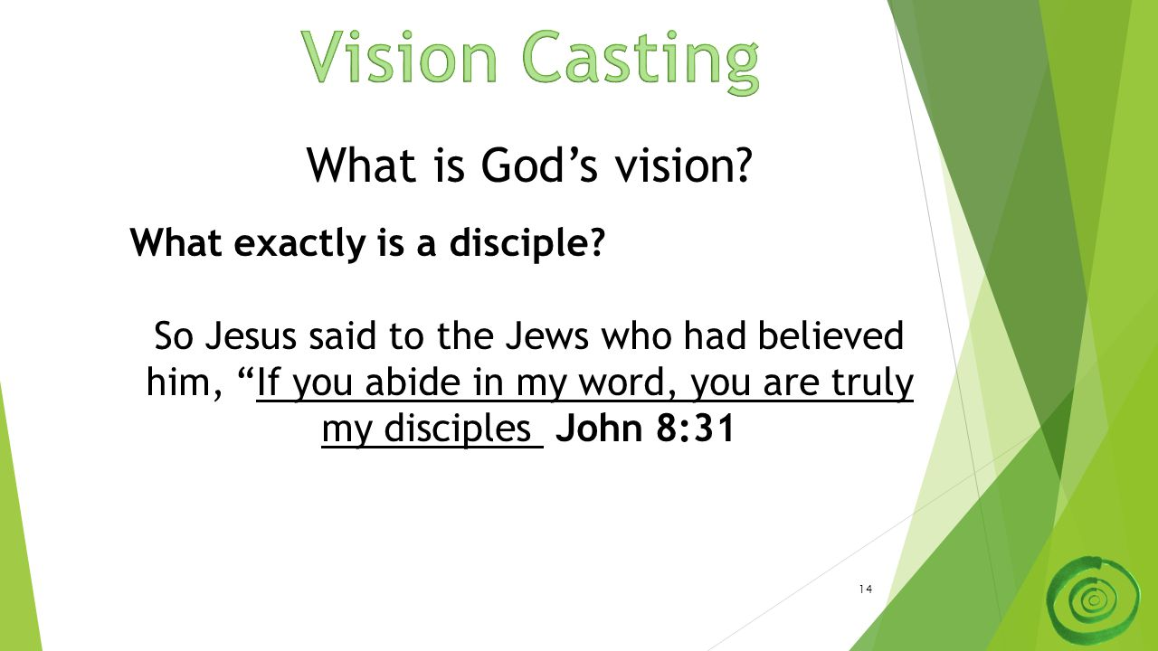 "14 What is God's vision? What exactly is a disciple? So Jesus said to the Jews who had believed him, ""If you abide in my word, you are truly my discip"