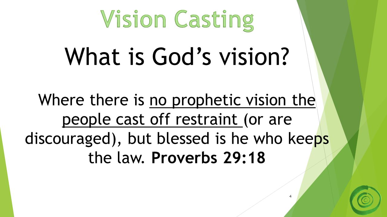 4 What is God's vision? Where there is no prophetic vision the people cast off restraint (or are discouraged), but blessed is he who keeps the law. Pr