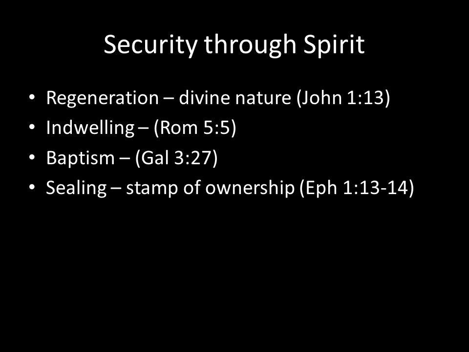 Security through Spirit Regeneration – divine nature (John 1:13) Indwelling – (Rom 5:5) Baptism – (Gal 3:27) Sealing – stamp of ownership (Eph 1:13-14)