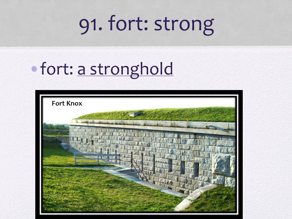 91. fort: strong fort: a stronghold Fort Knox