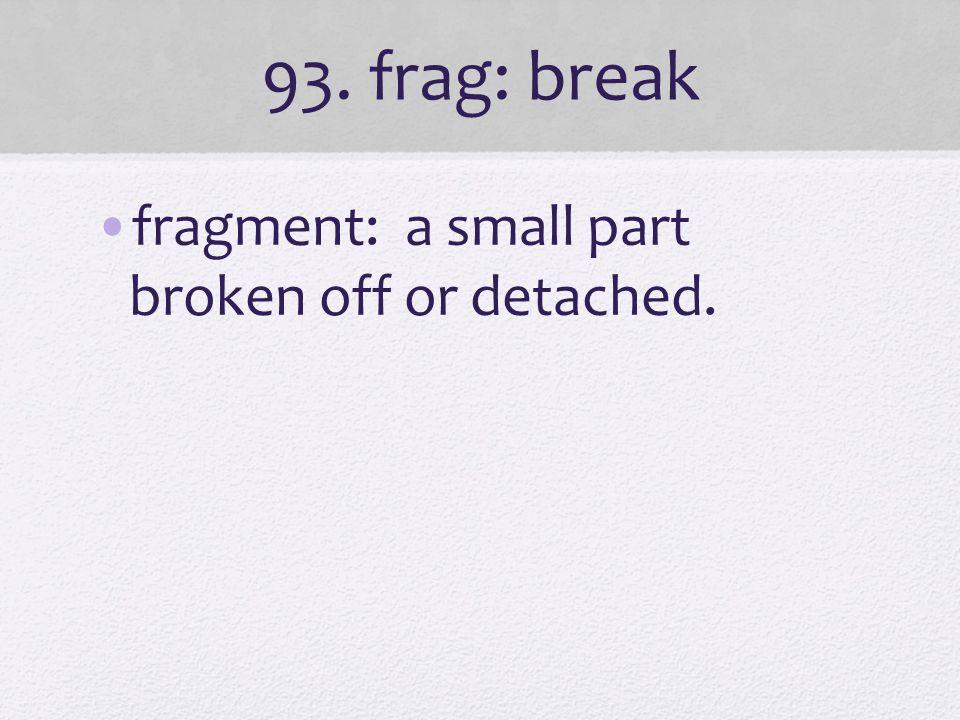 93. frag: break fragment: a small part broken off or detached.
