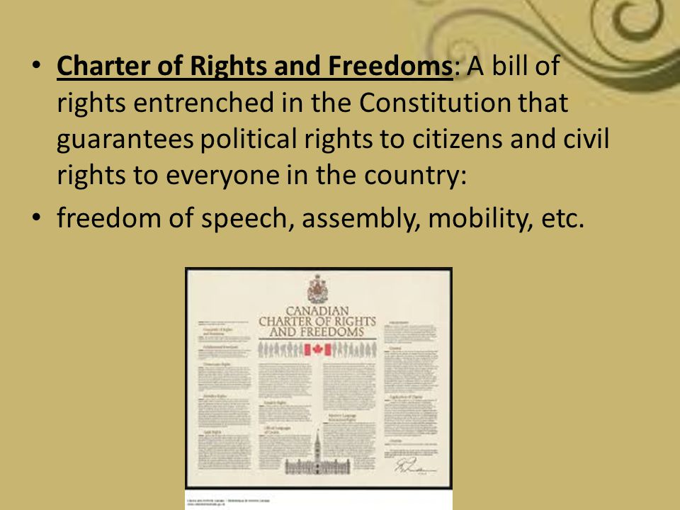Charter of Rights and Freedoms: A bill of rights entrenched in the Constitution that guarantees political rights to citizens and civil rights to every