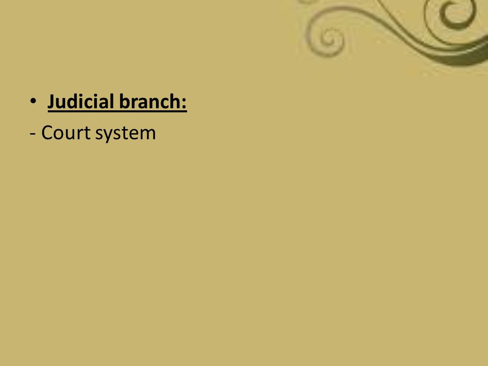 Judicial branch: - Court system