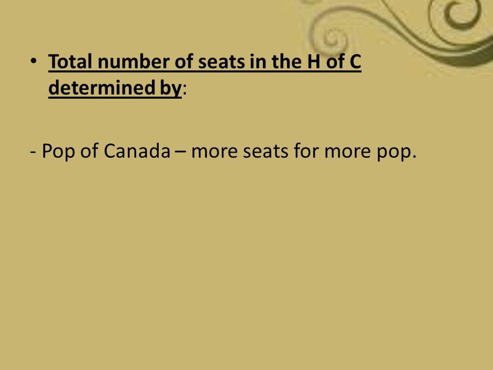 Total number of seats in the H of C determined by: - Pop of Canada – more seats for more pop.