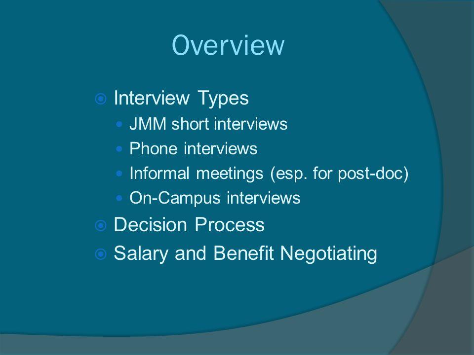 Overview  Interview Types JMM short interviews Phone interviews Informal meetings (esp.